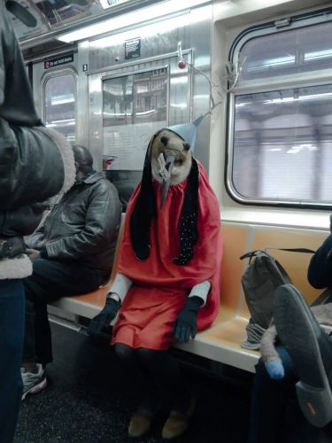 A Peculiar Character From a Hieronymus Bosch Painting Comes to Life on the New York City Subway