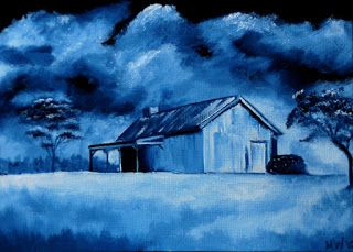 Mark Webster - Midnight Oil Series - Old Cabin Oil Painting