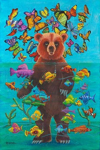 "Bear Painting, Native American Myth ""How Butterflies Came to Be"" by Colorado Artist Nancee Jean Busse, Painter of the American West"