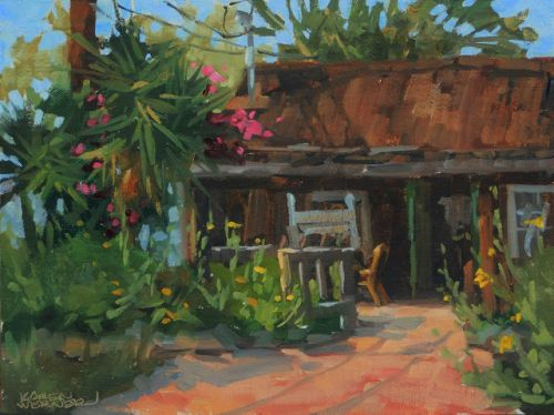 Hummingbird Cafe -a plein air painting from the historical Los Rios District