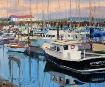 """Port Townsend Marina"" plein air , marinescape by Robin Weiss"