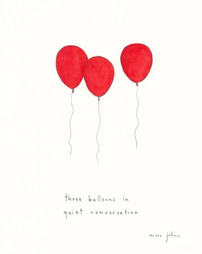 Three balloons in quiet conversation