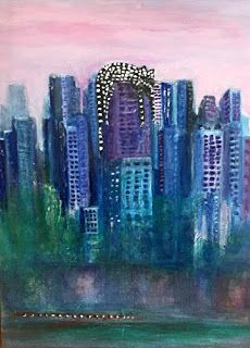 """Abstract Cityscape Painting, Cat Art,""""MR KITTY IN THE CITY"""" by California Artist Cecelia Catherine Rappaport"""