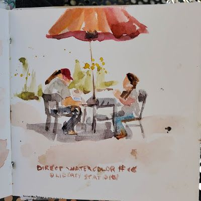 Direct watercolor 16 - People eating lunch at Liberty Station