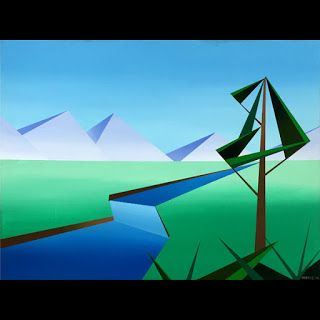 Mark Webster - Riverfield - Abstract Geometric Landscape Painting