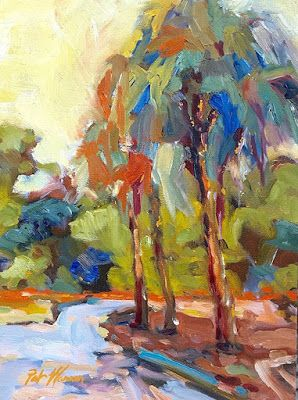 "Coastal Landscape Fine Art Oil Painting, Palm Trees, ""Palm Lane"" by Georgia Artist Pat Warren"