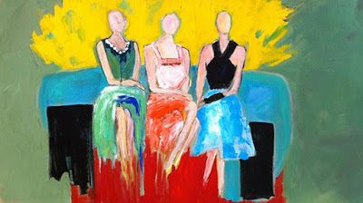 "Contemporary Expressionist Figurative Fine Art Painting,Three Women, Girlfriends ""WAITING FOR THE NEXT DANCE"