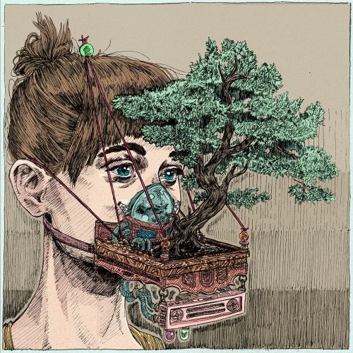 Face Masks Hold Fish Tanks and Overgrown Patches of Botanics in Surreal Illustrations by Kit Layfield