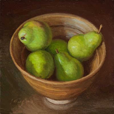 Pears in a bowl, still life oil painting original fruit daily painting a day