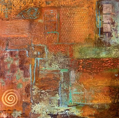 """Contemporary Art, Mixed Media, Abstract Art Painting """"Textures 1"""" by Arizona Artist Pat Stacy"""