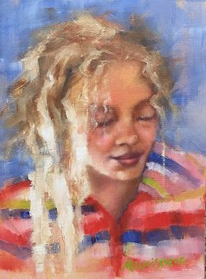 "Female Portrait, Fine Art Oil Painting ""Blondie"" by Illinois Artist Marilyn Weisberg"