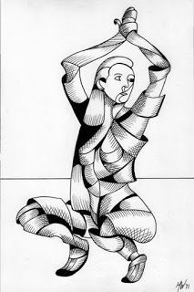 Mark Adam Webster - Ximon 12.15 - Abstract Futurist Figurative Ink Drawing