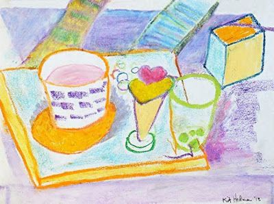 """Still Life Expressionist Painting """"Drawing Class"""" by Colorado Artist Kit Hedman"""