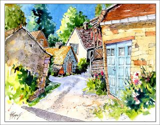 French Village..Watercolor..Texas Artist.Rae Andrews