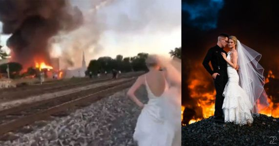 Wedding Photographer Uses Building Fire as Backdrop