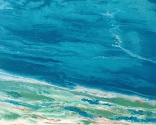 "Original Contemporary Abstract Seascape Art Painting ""Emerald Waters"" by International Contemporary Landscape Artist Kimberly Conrad"