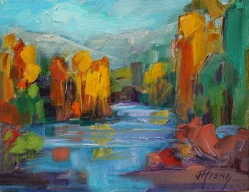"Stream, Impressionist Landscape,Trees, Fine Art Oil Painting ""Mountain Stream "" by Colorado Contemporary Fine Artist Jody Ahrens"