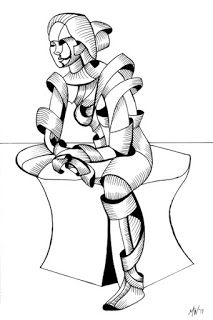 Mark Webster - Becca 16.04 - Abstract Futurist Figurative Ink Drawing