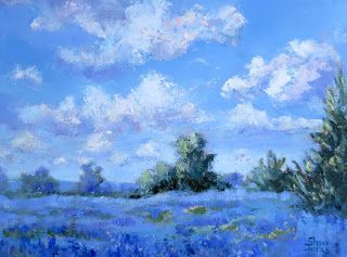 Grateful for the Blues, New Contemporary Landscape Painting by Sheri Jones