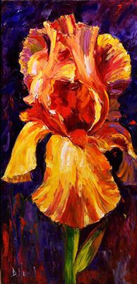 "Orange Iris, Still Life Floral Painting, Flower Painting, Palette Knife Oil Painting ""Warmth"" by Texas Artist Debra Hurd"