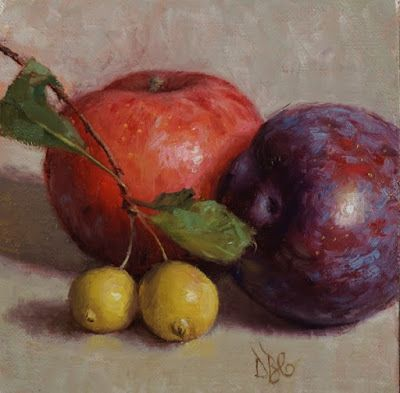 """""""Plums and Crab Apples"""" Oil on 5x5 in. linen panel"""