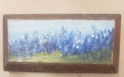 Blue Bonnets on Tiny Block of Wood, oil painting, Flowers, Barbara Haviland