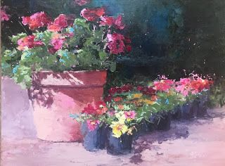 Contemporary Art Impressionistic Floral Palette Knife Original Oil painting by Sheri Jones