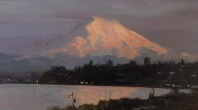"""Mount Rainier from Vashon"" Seattle landscape painting by Robin Weiss"