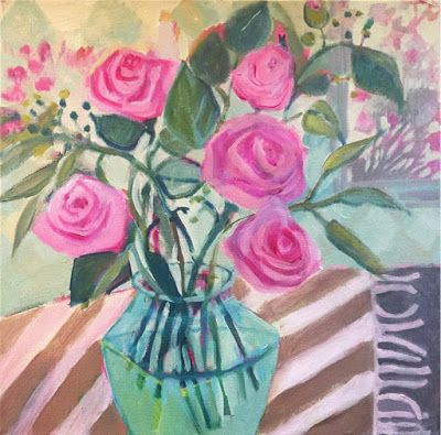 "Contemporary Abstract Bold Expressive Flower Art Painting ""PINK ROSES"" by Bold Expressive Painter,Santa Fe Artist Annie O'Brien Gonzales"