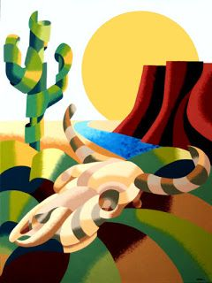 Mark Webster - Abstract Futurist Southwestern Desert Landscape Oil Painting