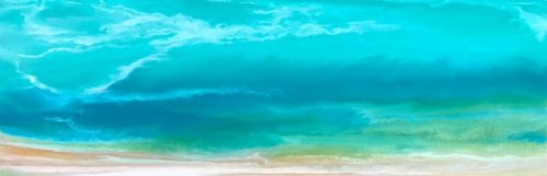 "Original Abstract Seascape Painting, Coastal Art, Beach Painting, Caribbean Series ""Caribbean Summer Storm"" by International Contemporary Artist Kimberly Conrad"