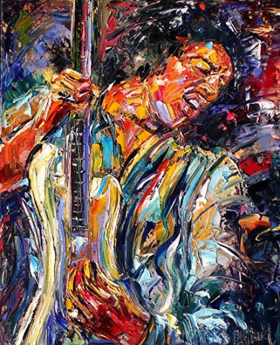 "Abstract Musician Portrait, Music Art Paintings,Guitar ""Jimi Hendrix""by Texas Artist Debra Hurd"