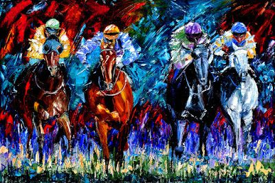 "Churchill downs, Horse Race Art Painting Colorful Paintings Oil on Canvas ""The Four"" By Debra Hurd"