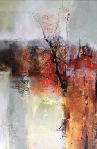 "Mixed Media Abstract Landscape Painting ""Mystical Threshold"" by Intuitive Artist Joan Fullerton"