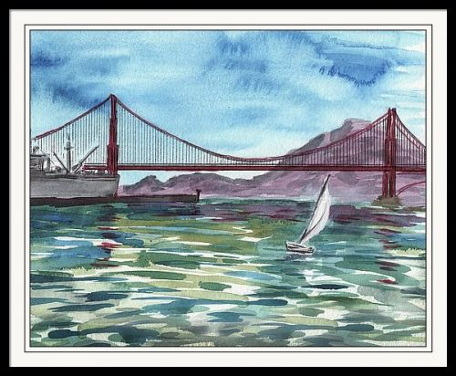 Watercolor Painting Of Golden Gate Bridge Plein Air Day
