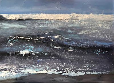 "Abstract Seascape Painting ""Manhattan Beach Surf"" by California Artist Cecelia Catherine Rappaport"