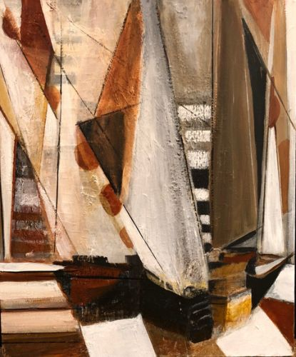 """Mixed Media Abstract Painting, Sail Boat Painting, Nautical Art, Sailing """"Sailing Adventure"""" by California Artist Cecelia Catherine Rappaport"""