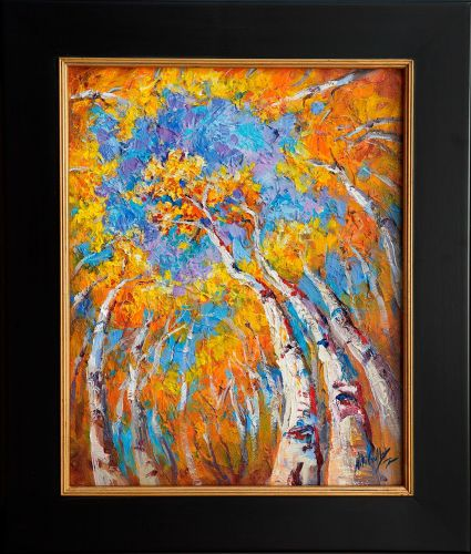 """New """"Reaching to Heaven"""" Fall Aspen Impasto Painting by Niki Gulley"""