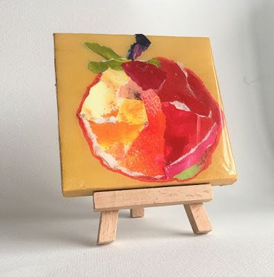 """Summer Sale, Still Life, Resin, Textural Collage, Small Painting, Mixed Media """"PAPER POMEGRANATE"""