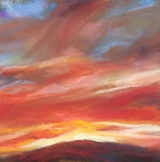 "RED + BLAZING - 4 1/2"" x 4 1/2"" pastel sky by Susan Roden"