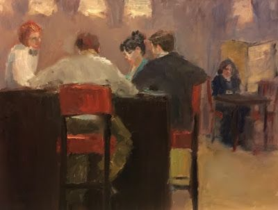 What I'm Working on Today - bar scene figurative oil painting