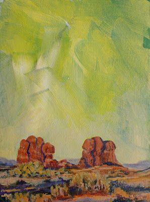 "Western Landscape Fine Art Painting,""ODD LIGHT"" by Colorado Artist Nancee Jean Busse, Painter of the American West"