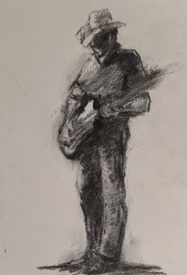 Country Music - charcoal figurative drawing