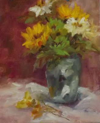 """Impressionist Still Life Floral Oil Painting,""""Green Floral"""" by Colorado Contemporary Fine Artist Jody Ahrens"""