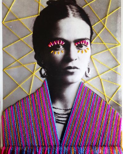 Colorfully Embroidered Vintage Photos of Artists and Cultural Icons by Victoria Villasana