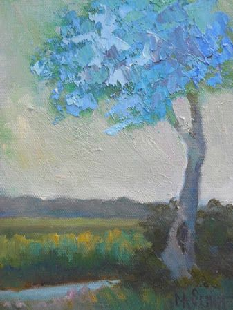 "Small Tree Landscape, ""Feeling Blue, Daily Painting, 6x8"" Original Oil Artwork"