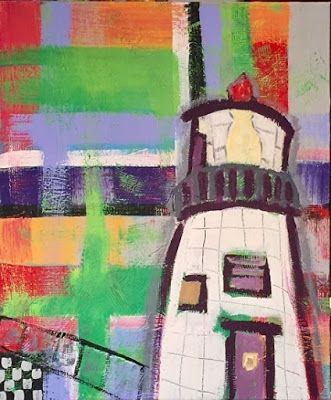 "Contemporary Art , Folk Art, Narrative Art Painting,Lighthouse ""Owl's Head Maine"" Narrative Art by Santa Fe Artist Judi Goolsby"