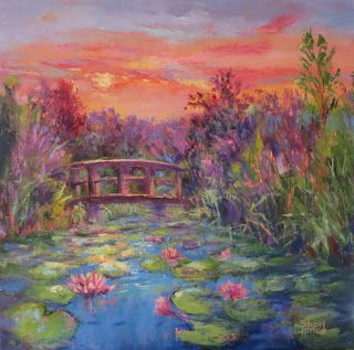 Lily Pond Sunrise, New Contemporary Landscape Painting by Sheri Jones