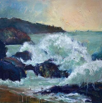 "Seascape Painting, Contemporary Seascape,Coastal Art, Beach Painting For Sale ""CHANGING CURRENTS"" by Portland Contemporary Artist Liz Thoresen"