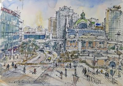 Sketches around the Seoul Station and Seoul City Hall